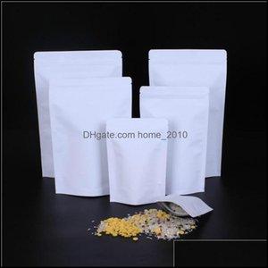 Bk Kitchen Storage Housekee Organization Home & Gardenzipper White Aluminizing Pouch Stand Up Kraft Paper Aluminium Foil Bag Resealable Zip