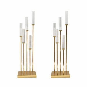 Wedding Backdrop stick 12 heads candelabra wedding Aisle Decor Gold Tall Event Table Centerpieces for Wedding Stands by sea GWE10340