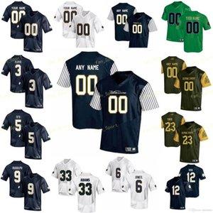 NCAA College Jerseys 33 Josh Adams 34 Jahmir Smith 4 George Atkinson III 40 Drew White 5 Manti Te'o 6 Jerome Bettis Custom Football Stitched
