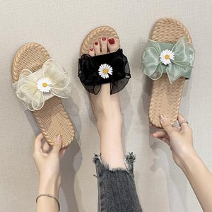 Beach Shoes Womens Slippers Outdoor Butterfly-Knot Luxury Slides Pantofle Flock Low Sabot Designer Flat 2021 Rubber Soft PU Basi