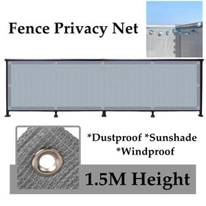 Shade 1.5M Height Grey Sunshade Net Garden Balcony Fence Privacy Courtyard Plant Cover Automobile Awning Shelter Sail