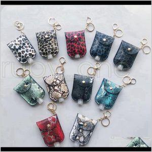 Pu Leather Hand Sanitizer Bottle Holder Keychain Bag With 30Ml Bottle Leopard Hand Soap Bottle Holder Key Ring Cover Party Favor Tm9Zo Unoeq