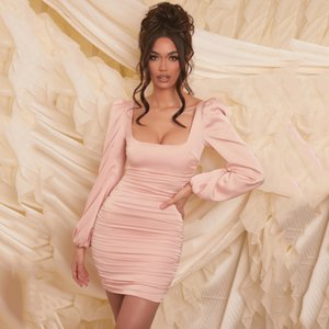 Women Dresses Summer Fashion Solid Color Dress Womens Sexy Party Night Club Style Dress Bodycon-dress Long Sleeve Above Knee
