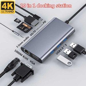 Hub USB C Converter Type C to HDMI-compatible 4K VGA RJ45 Multi USB 3.0 PD Dock Station for MacBook Pro Docking Station USB C
