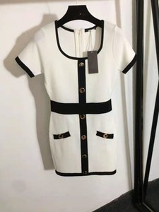 605 2021 Spring Summer A Line Short Sleeve Button Dress Prom Fashion Flora Print Above Knee Black White Brand Same Style Black Kint Letter FALUOLAN