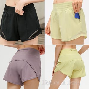 lu-33 yoga shorts pants pocket quick dry gym sport outfit high-quality style womens summer dresses Elastic waist