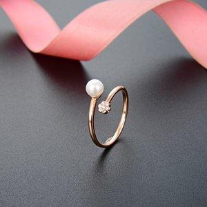 Version coréenne de Petit Fresh Simple Zircon Ouverture S925 Sier Pearl Bague Femme Femme Index Index Doigt Ringkk6x