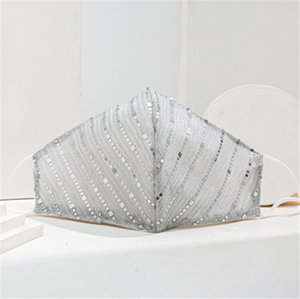 Paillette inside Cotton Soft Washable Fashion Sequins Women for Party Masks Bling Sexy Half Face Mask Halloween
