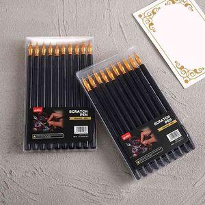 10 Pcs Scratch Painting Pen Multifunction Portable Stylus Art Paint Coloring Pens Sharp Flat Two-head Acraping J21 21 Dropship Q0313