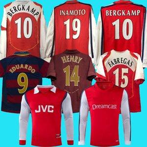 Highbury Home FootballJersey Soccer Pires Henry Reyes Jersey 05 06 98 99 Bergkamp 94 95 Adams Persie 96 97 Galla 86 87 89 طويلة الأكمام الرجعية