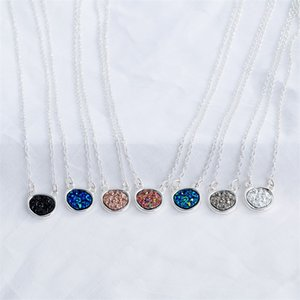 Fashion Irregular Circle Oval Druzy Drusy Necklace Silver Plated Faux Crystal Resin Stone Women Jewelry Accessories Fel6V 438 Q2