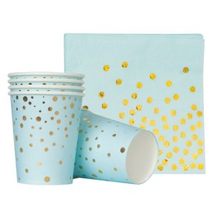 Wholesale Golden Dot Disposable Paper Party Plates 61 pcs Set, Dinnerware for Birthday Baby Shower Wedding 895 B3