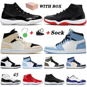 MIT BOX off white retro 1 1s Top-Qualität Männer Frauen Retro Basketball-Schuh-1s TWIST glückliches grün Obsidian dunkle Mokka Jumpman -Turnschuhe
