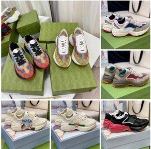 2021 Chaussures de concepteur Rhyton Sneakers Beige Hommes Formateurs Vintage Chaussures de luxe Mesdames Designers Sneakers avec boîte Taille 35-46