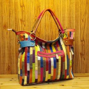 Bolso de mano cuero genuino a rayas para mujer, bandolera hombro colorida, bolso Vintage informal viaje