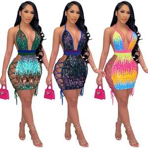 Sexy lantejoulas curtas vestido de clube halter v decote lado cortado mini vestidos para cocktails night club de baile azul verde rosa vermelha