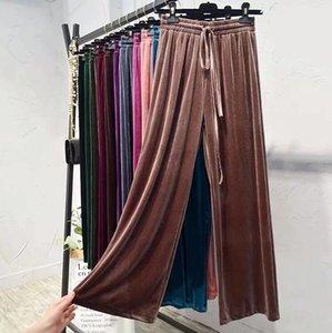 Kadınların geniş bacaklı pantolonların son tasarımı Avrupa ve Amerikan moda baskılı harfler kadife çok yönlü rahat yüksek belli pantolon