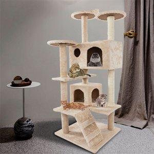 Новый 52-дюймовый кот альпинистская башня активность подъема дерева общая мебель кошки гнездящимися плата плата котенка питомца играет бежевый оптом