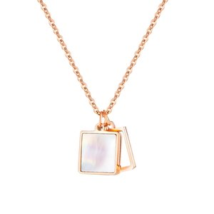 new arrival women fashion pendnats necklace wild match titanium steel pearl oyster necklace woman elegant creative square torque jewelry