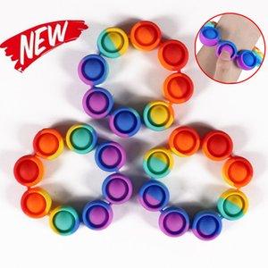 Fidget Re-печень стресс игрушки нажимают его радуги браслет пузырьки против стресса игрушки для взрослых детей сенсорные игрушки для облегчения аутизма 2021 FY2759