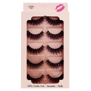 Pure Hand Made Mink Faux Eyelashes Reusable Soft Light Natural Thick 5 Pairs 3D Fake Lashes Extensions Set Plastic Cotton Stalk Makeup for Eyes 7 Models DHL Free