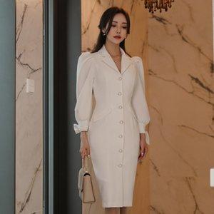 Robe élégante femmes automne casual manches longues bureau dame designers de piste de piste haute mode robe blanche
