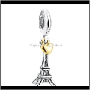 Loose Beads Jewelryfine Jewelry Rterling Sier Eiffel Tower Dangle Charms Pendant With 14K Gold Plated Heart For Women Fits European Bracelets