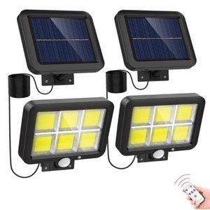 Paket Güneş Işıkları Açık Hareket Sensörü 150 COB LED Ayarlanabilir Paneller Kapalı Projektörler İçin Kablolu Güvenlik Powered Sel