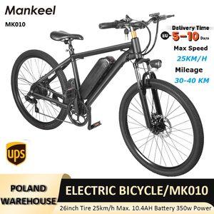 EU Mankeel Ebike Scooters MK010 Electric Bike 350w 10.4Ah 36V Lithium-battery 26 Inch City Fat Tire Bicycle