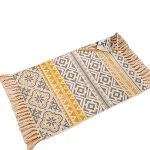 Carpets Retro Bohemian Hand Woven Cotton Carpet Tassel Bedside Rug Geometric Floor Mat Living Room Bedroom Home Decoration-A