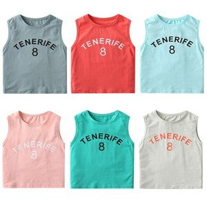 2021 Summer New Baby Boys And Girls Sleeveless Candy Colors T Shirt Pure Cotton O-neck Soft Pullover Tops Kids Teenager Clothes