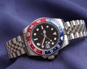 2021 mens relógio pulseira de pulso azul preto cerâmico de cerâmica relógio de aço inoxidável automático gmt movimento limitado watchh jubileu relógios mestre
