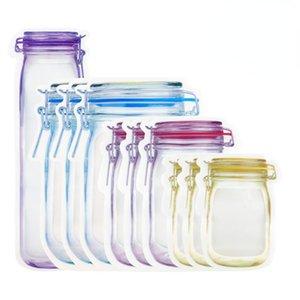 Reusable Mason Jar Bottles Bags Nuts Candy  Bag Waterproof Seal Fresh Food Storage Snacks Sandwich Zip Lock