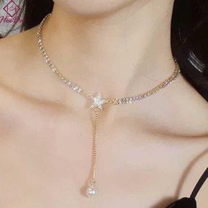 Koreanische Mode Set Auger Stern Chokers Halskette Frauen 2019 Neue Mode Einfache Perle Klinkkette Sexy Nachtclubs Bar Schmuck Y0528