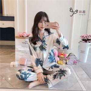 Spring Women Satin Pajamas Sets Sleepwear Pyjamas Sleep Lounge Long Sleeve Flower Print Nightsuits Pijama Silk Plus Size 5XL