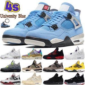 Университет Blue 4 4s Мужские баскетбольные Обувь Белый Орео Металлический Фиолетовый Черный Кот Разведка Шеммер Кактус Джек Мужчины Женщины Кроссовки США 5.5-13