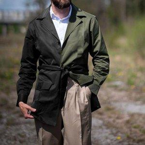 Men's Trench Coats 2021 Autumn Winter Men Coat Mid-length Fashion Casual Splicing Long Sleeve Windbreaker Mens