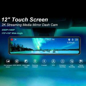 Inç Araba DVR 2K Stream Media Dash Kam İletişim SN Kamera Çift Lens Dikiz Aynası Sürüş Kaydedici DVRS