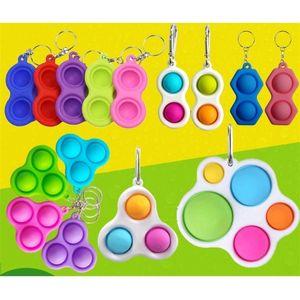 Empurrão pop it dedo bubble keychain brinquedos crianças adultos seis forma silicone fidget simples covinho chaveiro descompressão chaveiro pandent h31oqny