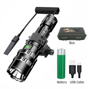 Tactical XML-L2 LED Hunting Red green white Light Multi-function Torch USB Rechargeable 5modes Use 18650 Camping Lamp Flashlights Torches