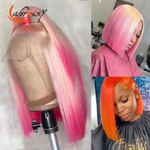 Dantel Peruk Turuncu HD Transapirt Frontal İnsan Saçı Vurgulamak 613 Pembe Bob Ön Kopardı Renkli Tam Sarışın Ön Peruk 13x6