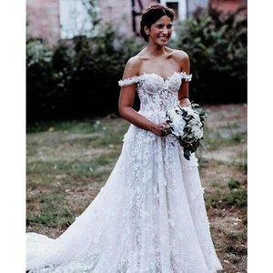2021 Off The Shoulder Lace Wedding Dresses Tulle Applique Court Train Garden A Line Wedding Bridal Gowns robes de mariée