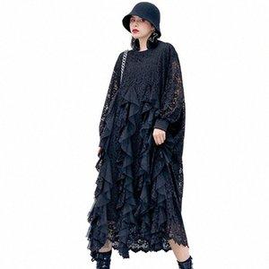 QING MO Black White Women Lace Dress 2020 Spring Women Mesh Patchwork Dress Female Plus Size Slim ZQY3052 I7Rz#