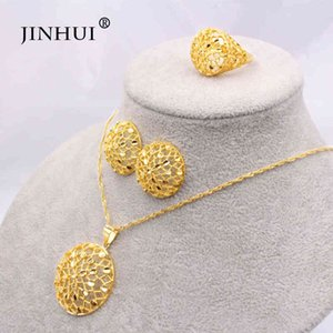 Dubai 24K gold women's jewelry set, African party necklace and earring set, 45cm Pendant Gift