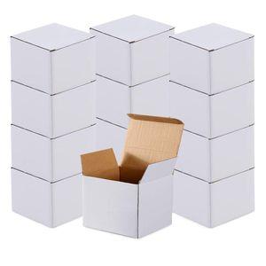 WACO 50-Pack كرافت كرافت مربع، مع أغطية لوازم الحزب، حاويات كب كيك، تفضل الزفاف، صريحة، التعبئة والانتقال، بيضاء 6x4in الأبيض