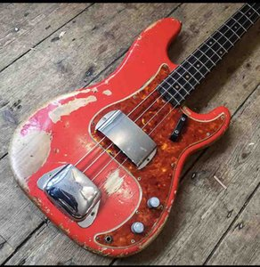 custom electric bass guitar, Aged Relic Candy Apple JAZZ