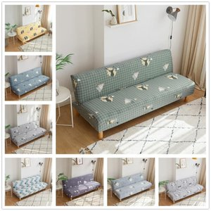 Chair Covers Nordic Deer And Plaid Print Folding Sofa Bed Cover Geometric Stretch Couch Without Armrest Furniture Protector Slipcover