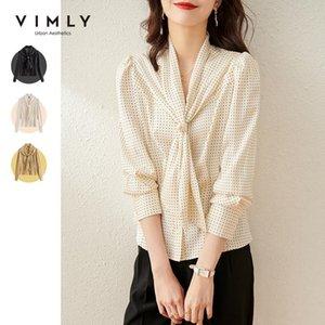 Vimly 2021 Printemps Femmes Blouses Mode Ruban Collier Dot Chemises en mousseline Élégante Bureau Lady Blusas Mujer Tops f6068 Femmes