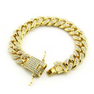 Men's Hip Hop Link Chain Bracelets Jewelry Full Rhinestone Cuban Bracelet Hiphop Fashion Diamond for Men