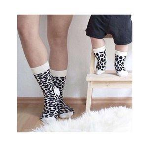 Sh823 leisure parent-child leopard socks combed cotton medium tube men's and women's